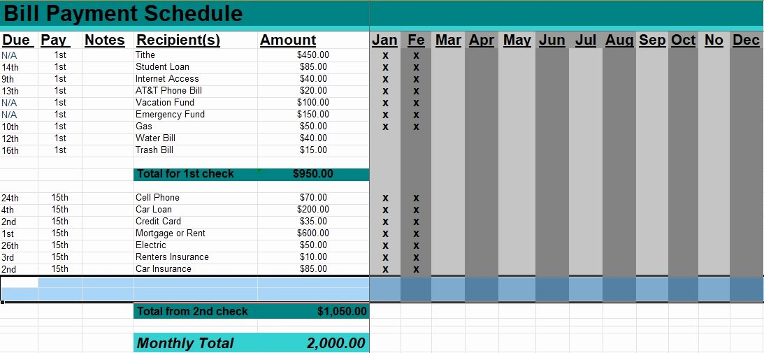 Monthly Payment Schedule Template Inspirational 5 Bill Payment Schedule Template Pdf & Word Excel Tmp