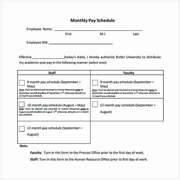 Monthly Payment Schedule Template Inspirational Payment Schedule Template