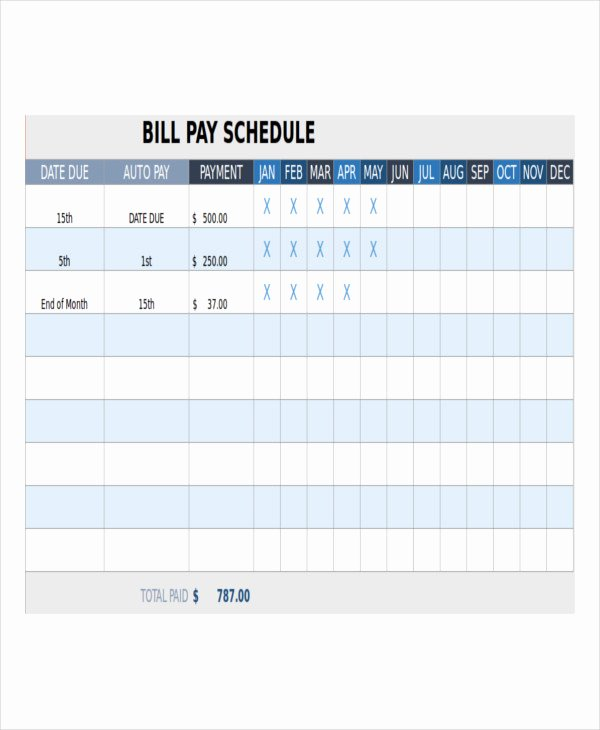 Monthly Payment Schedule Template New Bill Payment Schedule Template 13 Free Word Pdf format