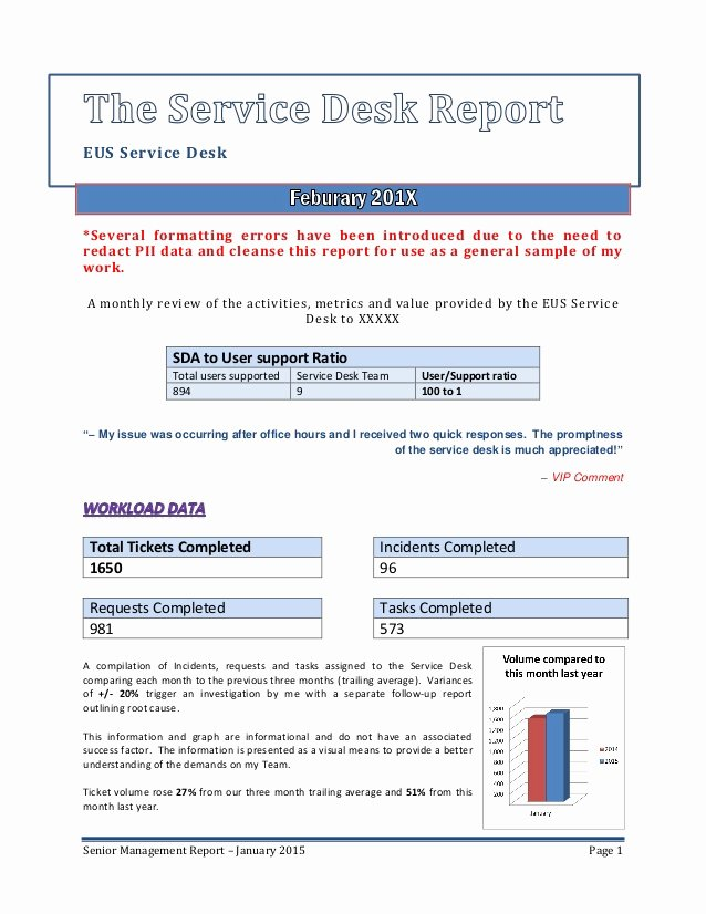 Monthly Report Template for Manager Fresh Senior Management Service Desk Report Sample
