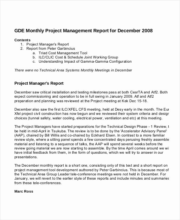 Monthly Report Template for Manager Unique 13 Project Management Report Templates Ms Word Excel