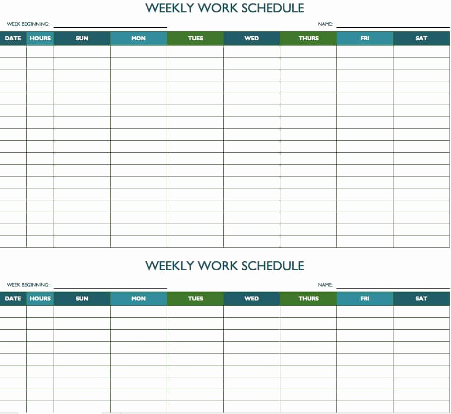 Monthly Work Schedule Template Awesome Free Weekly Schedule Templates for Excel Smartsheet