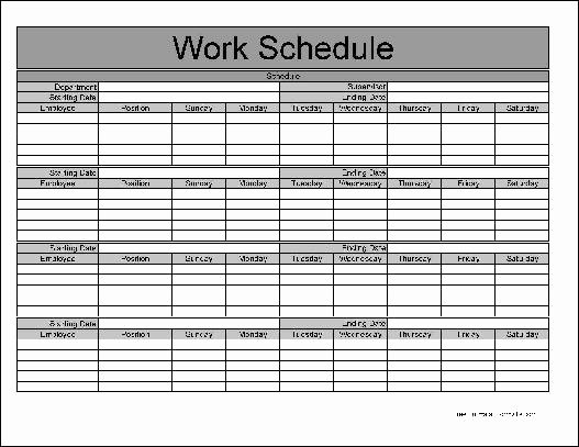 Monthly Work Schedule Template Beautiful Monthly Employee Schedule Template