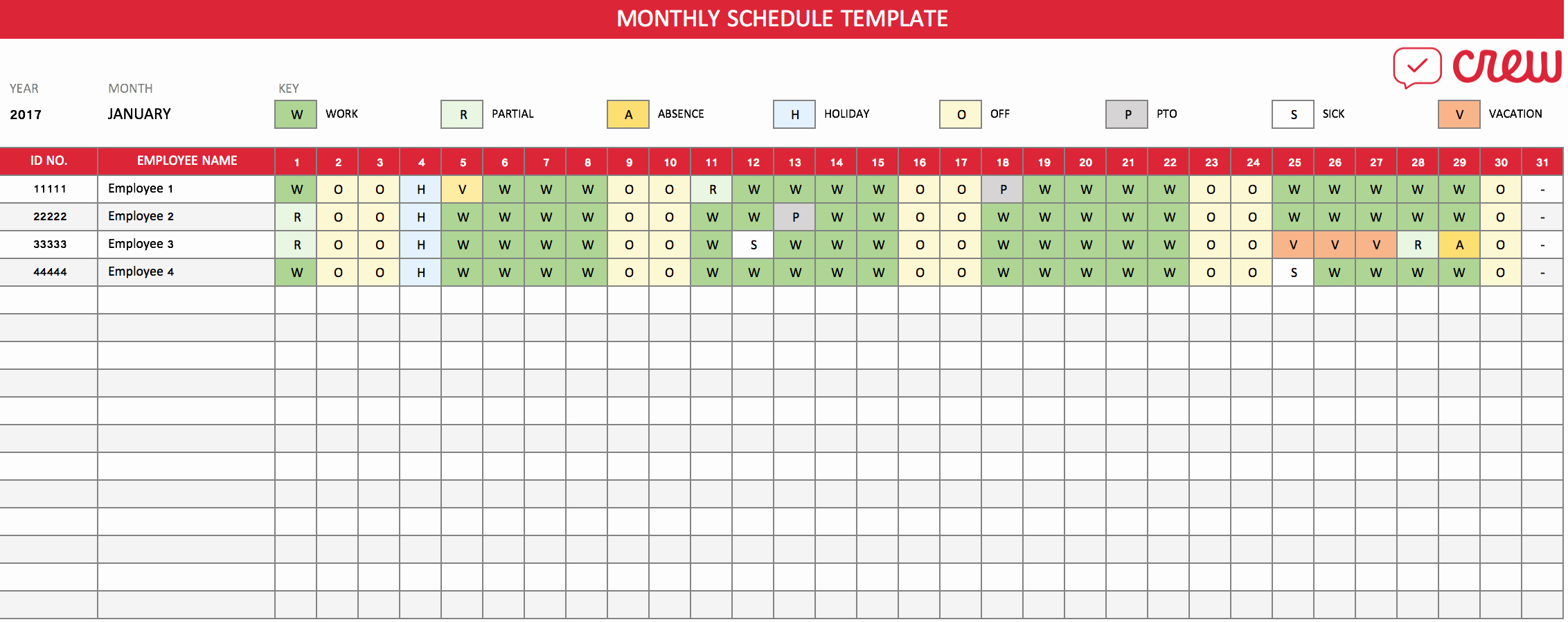 Monthly Work Schedule Template Best Of Free Monthly Work Schedule Template Crew