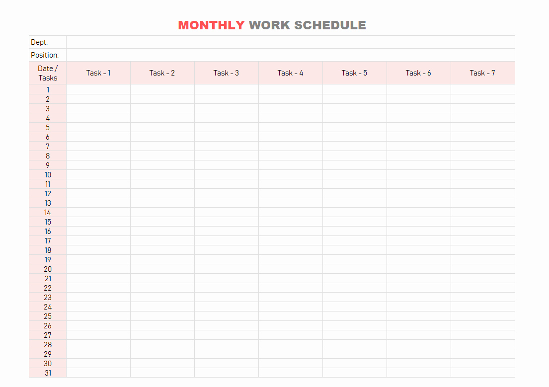 Monthly Work Schedule Template Best Of Work Schedule Template Daily Weekly