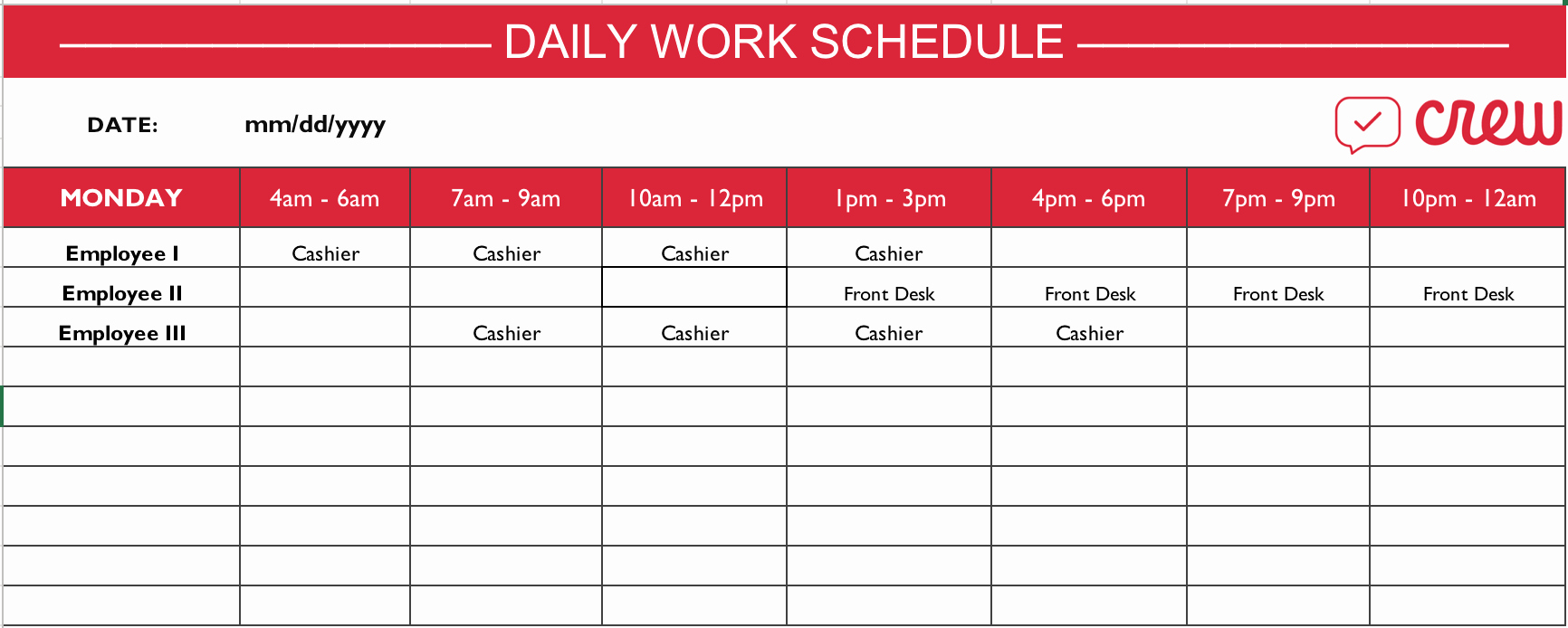 Monthly Work Schedule Template Inspirational Free Daily Work Schedule Template Crew