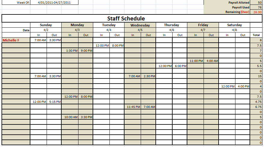 Monthly Work Schedule Template Lovely 6 Free Staff Schedule Templates Using Ms Excel and Ms Word