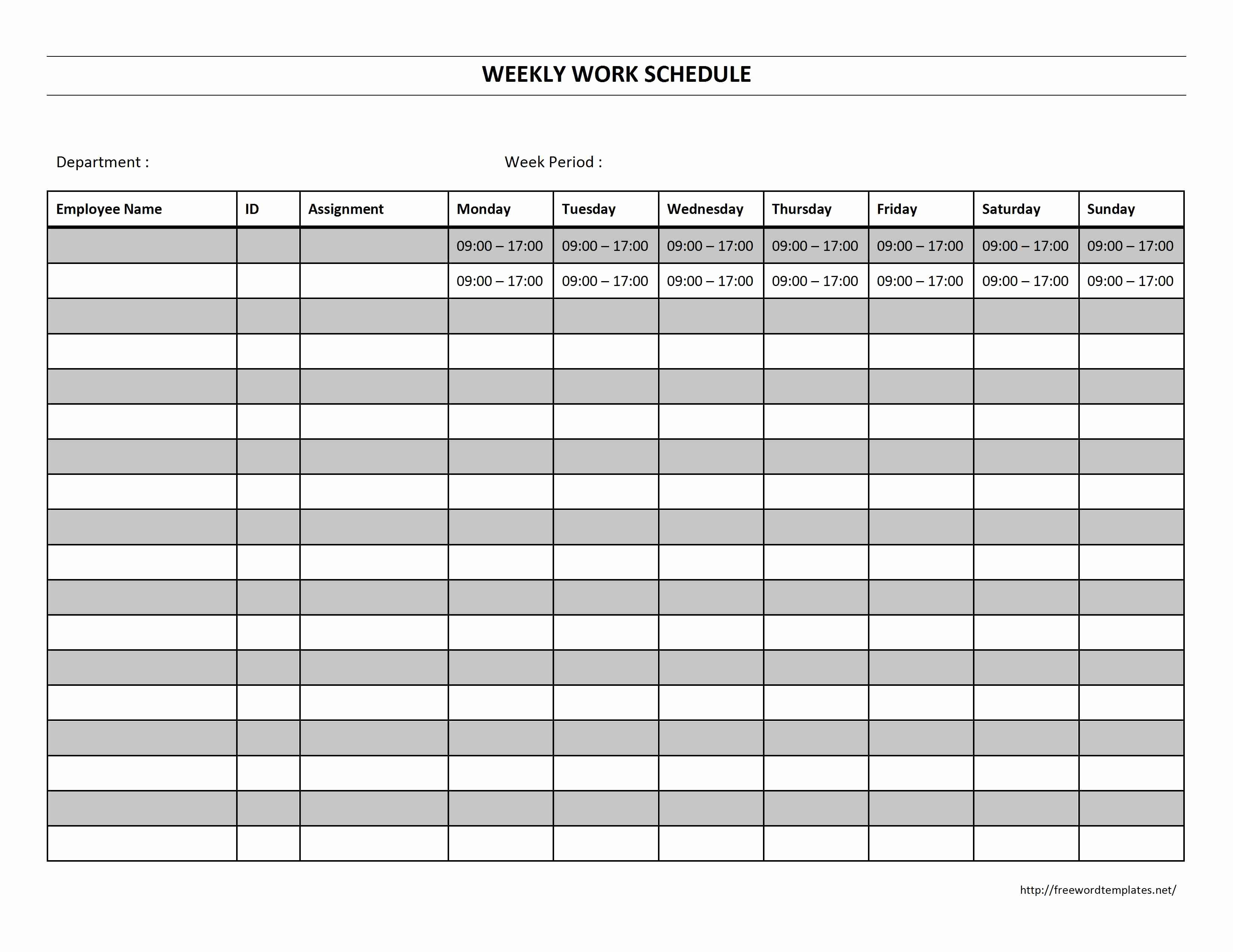 Monthly Work Schedule Template Lovely Weekly Work Schedule