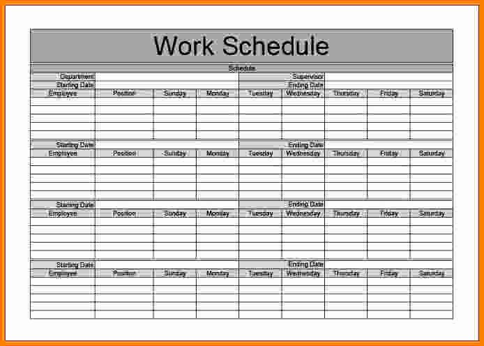 Monthly Work Schedule Template New 7 Monthly Schedule Template