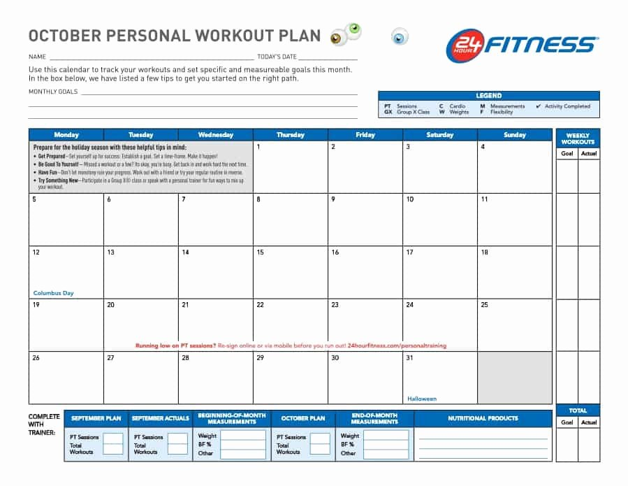Monthly Workout Schedule Template Awesome 40 Effective Workout Log & Calendar Templates Template Lab