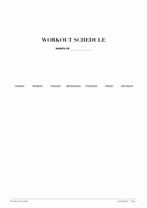 Monthly Workout Schedule Template Beautiful Fitness Freebies