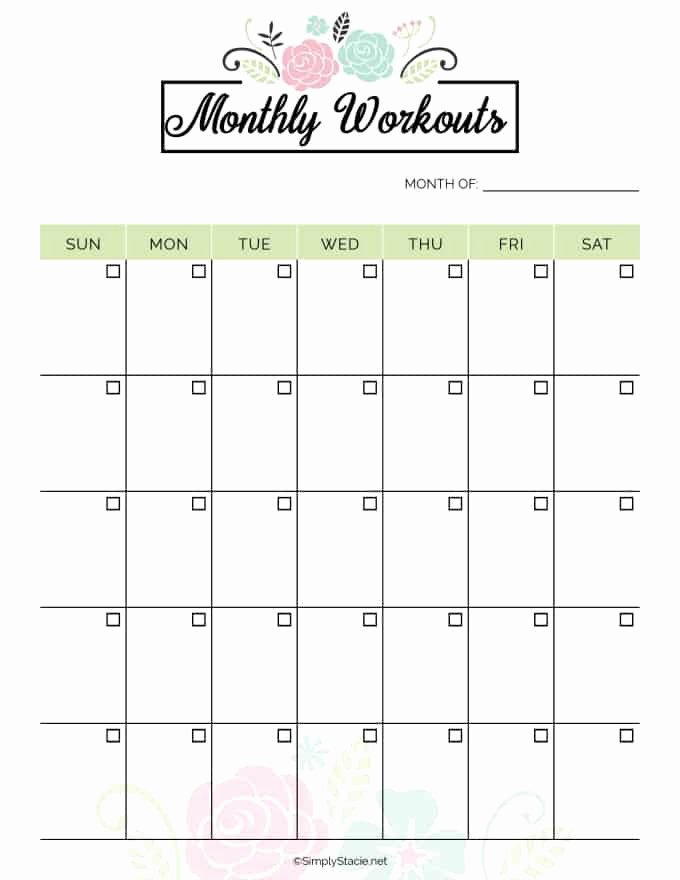 Monthly Workout Schedule Template Best Of 2019 Fitness Planner Free Printable Simply Stacie