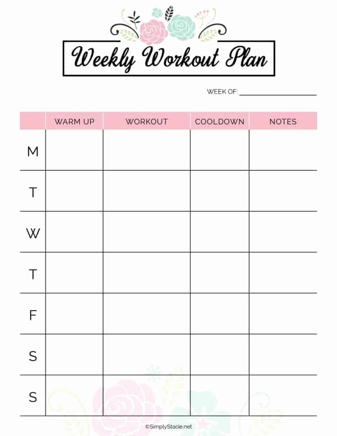 Monthly Workout Schedule Template Lovely 2019 Fitness Planner Free Printable Simply Stacie