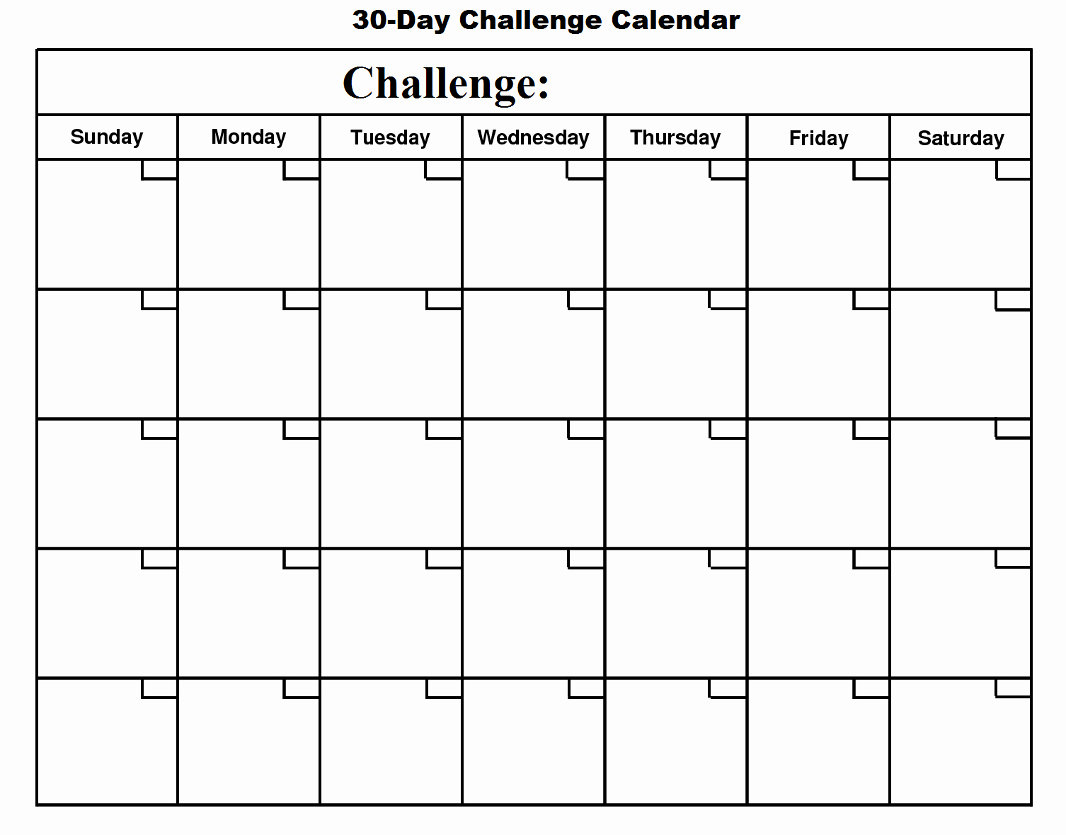 Monthly Workout Schedule Template Lovely 30 Day Challenge Basic Growth