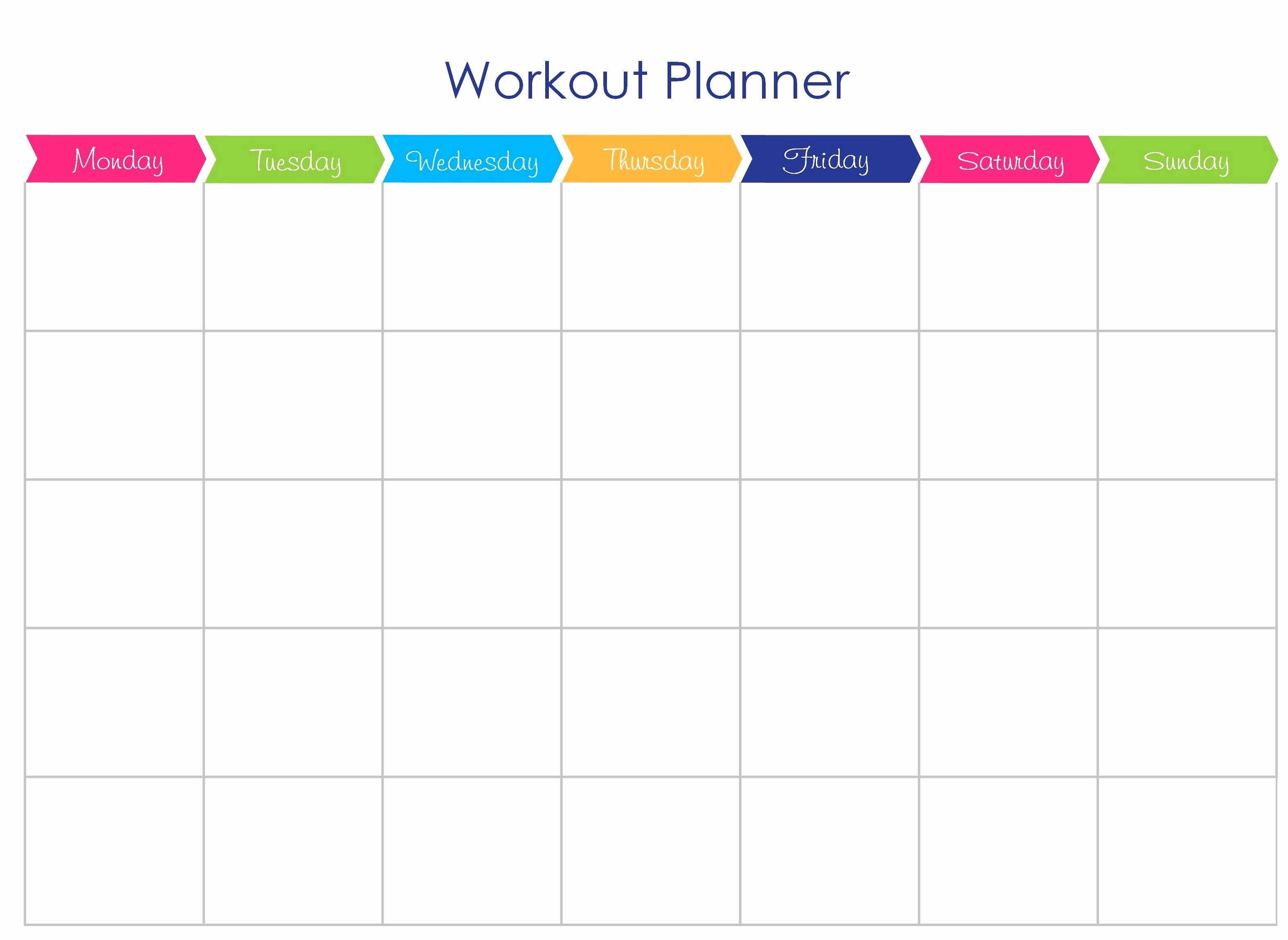 Monthly Workout Schedule Template New Printable Workout Templates