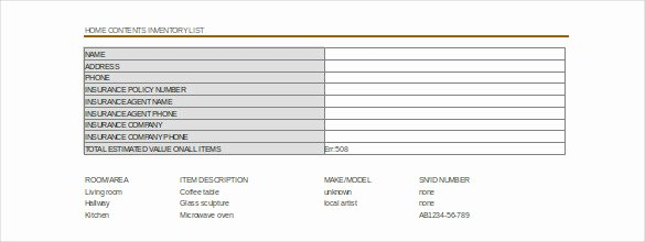 Moving Inventory List Template Awesome Moving Inventory Template – 15 Free Excel Pdf Documents