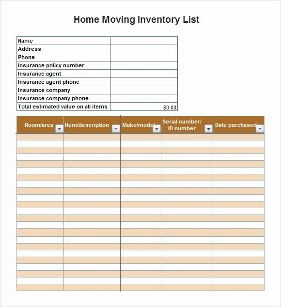 Moving Inventory List Template Beautiful Sample Inventory List Template 9 Free Documents