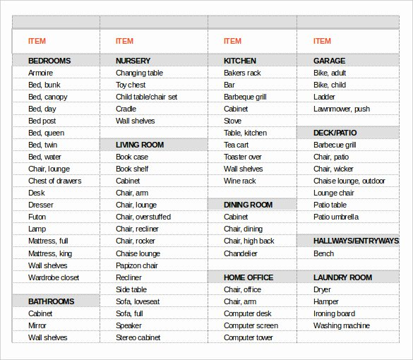 Moving Inventory List Template Best Of 13 Moving Inventory Templates – Free Sample Example