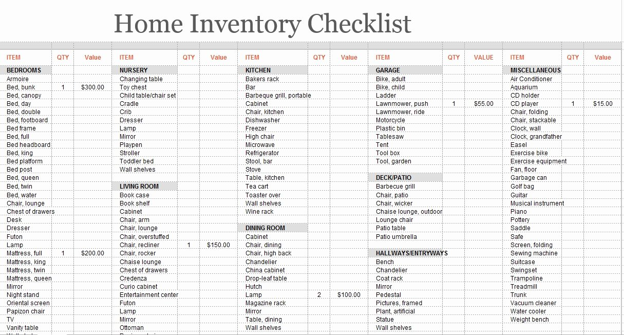 Moving Inventory List Template Best Of 8 Free Sample Moving Inventory List Templates Printable