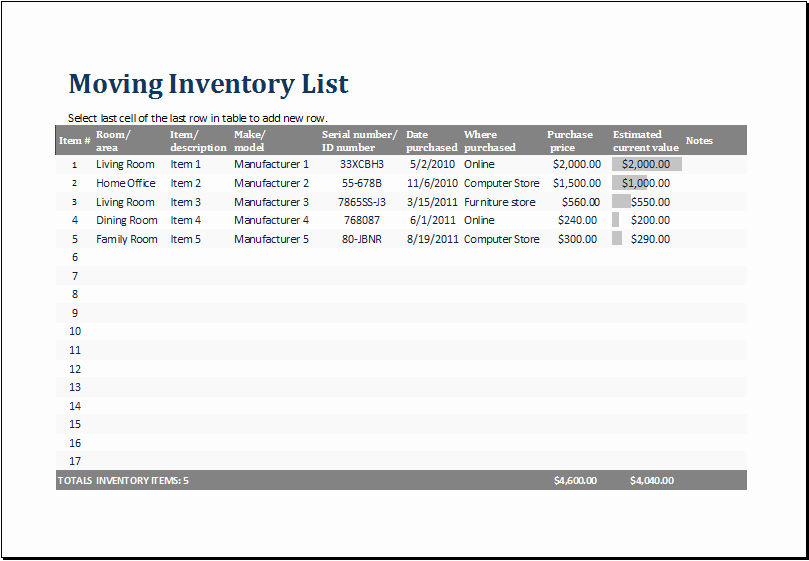 Moving Inventory List Template Best Of Ms Excel Printable Moving Inventory List Template