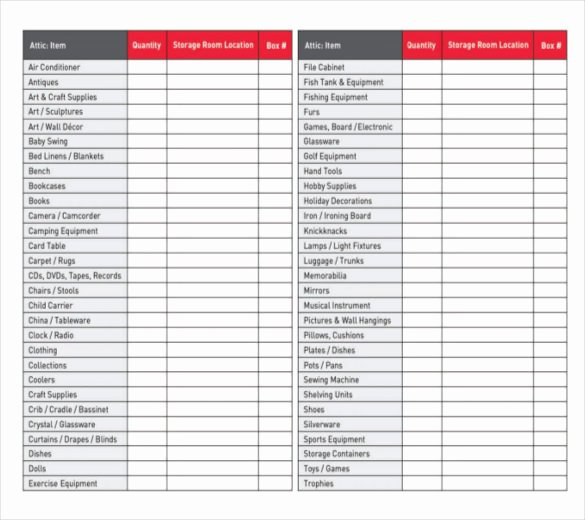 Moving Inventory List Template Fresh Moving Inventory Template – 15 Free Excel Pdf Documents