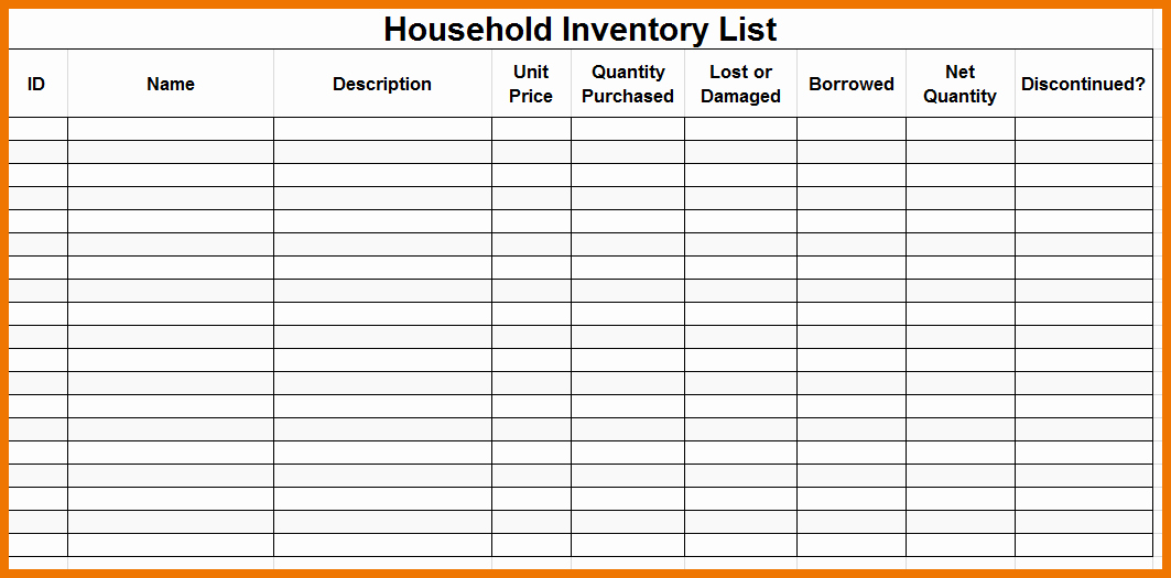 Moving Inventory List Template Unique Household Inventory List Template