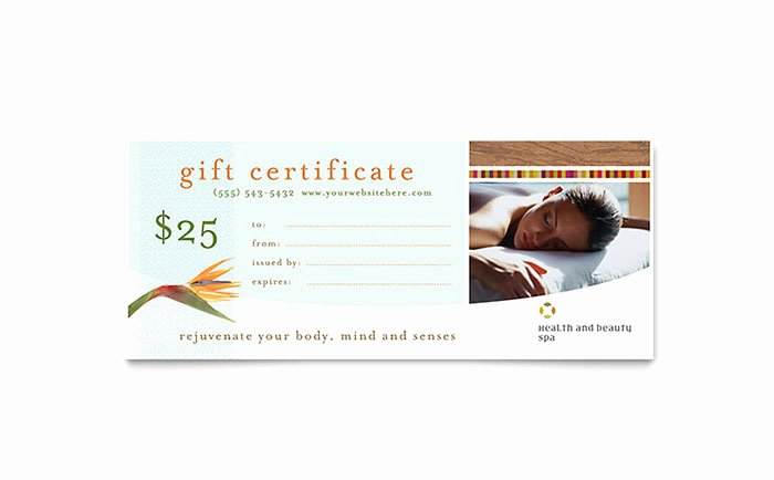 Ms Publisher Certificate Templates Beautiful Health & Beauty Spa Gift Certificate Template Word