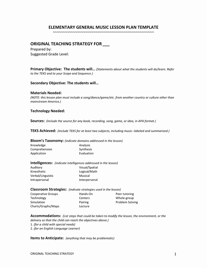 Music Lesson Plan Template Best Of Elementary General Music Lesson Plan Template
