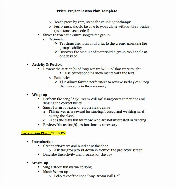 Music Lesson Plan Template Best Of Sample Music Lesson Plan Template 9 Free Documents In