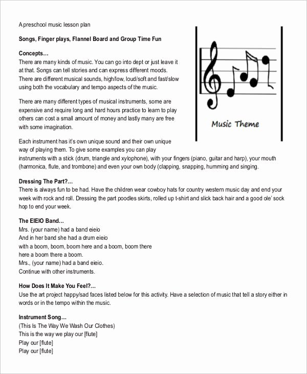 Music Lesson Plan Template Lovely 11 Printable Preschool Lesson Plan Templates Free Pdf