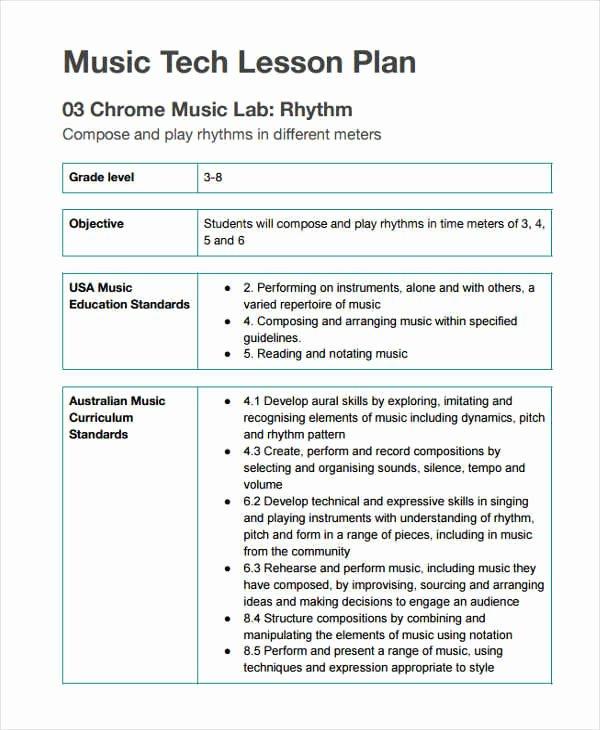 Music Lesson Plan Template Unique 12 Lesson Plan formats
