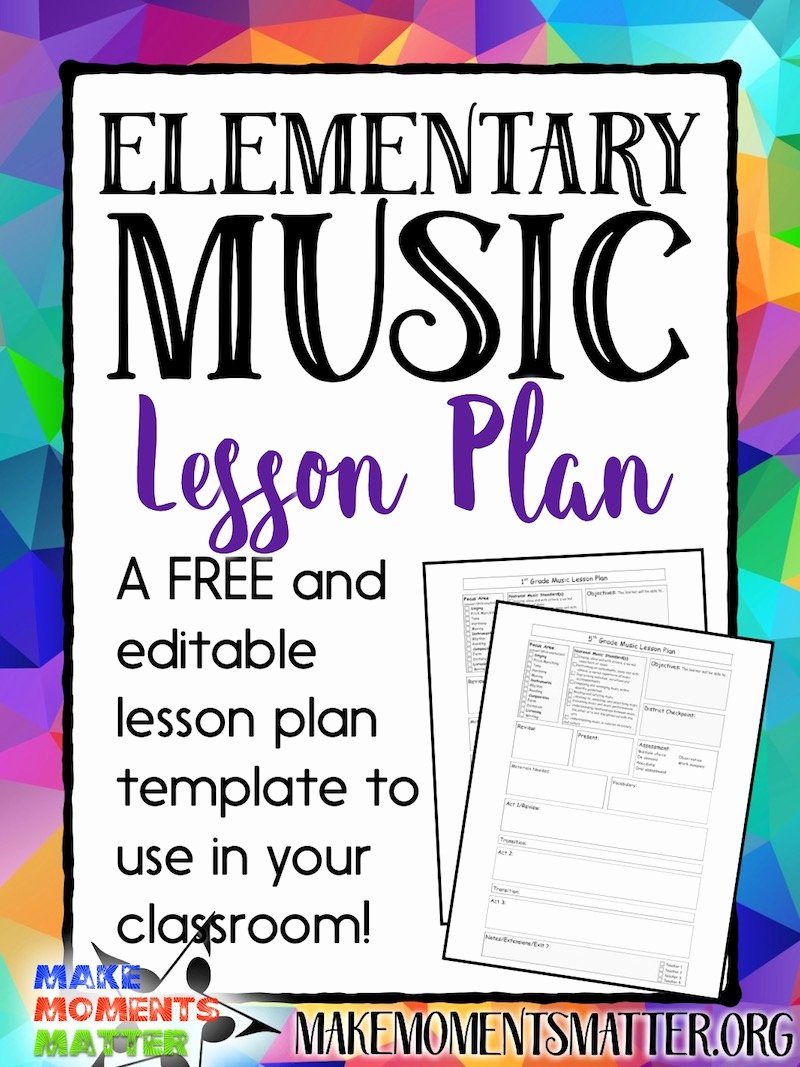 Music Lesson Plan Template Unique Free My Elementary Music Lesson Plan Template Make