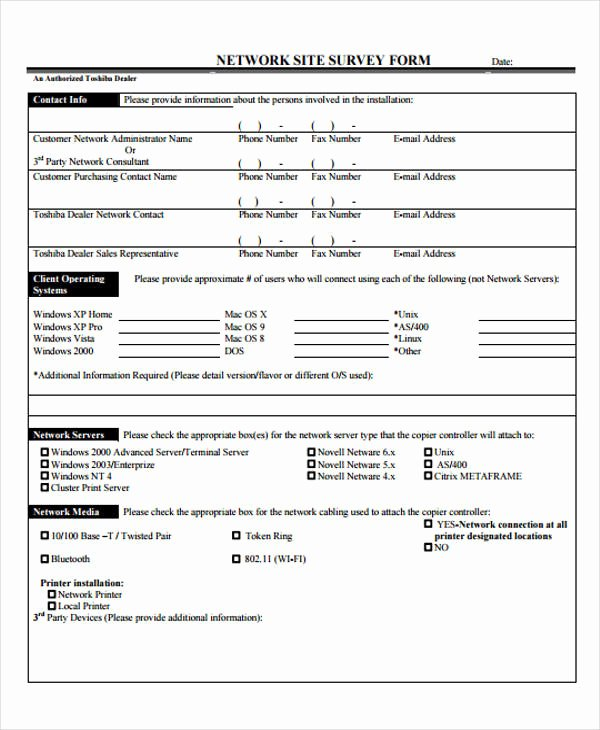 Network Site Survey Template Inspirational 48 Examples Of Survey forms Word Pdf