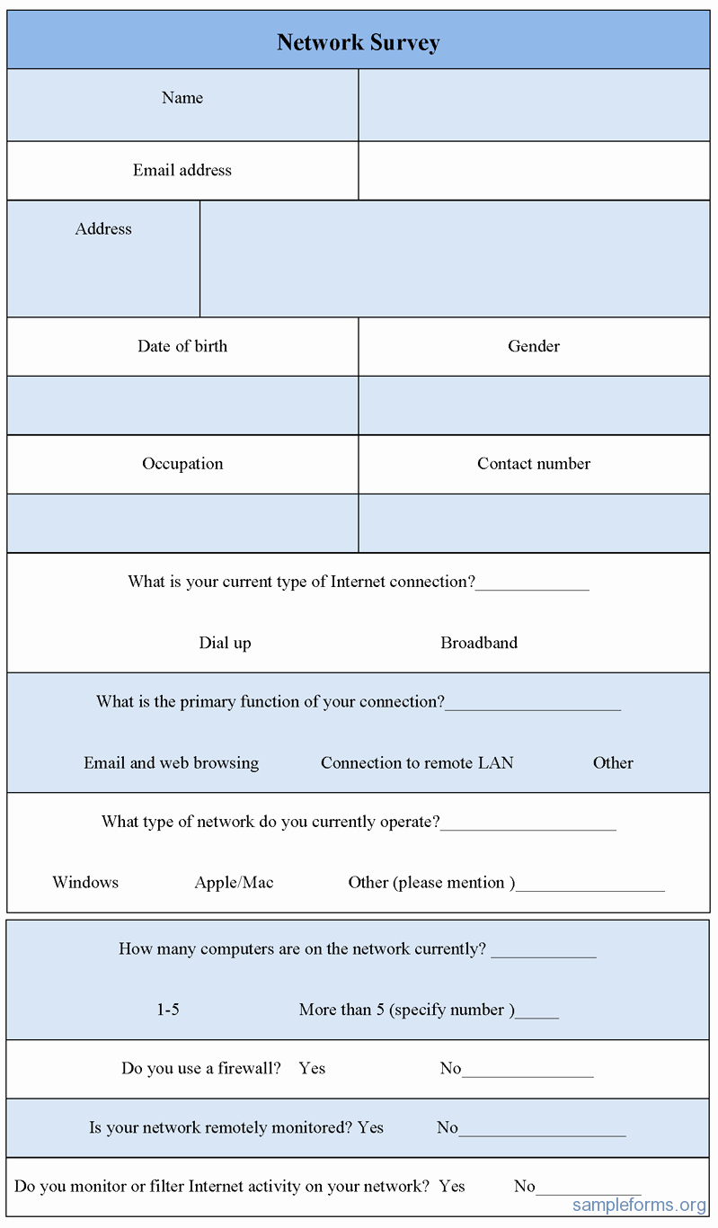 Network Site Survey Template New Network Survey form Sample forms