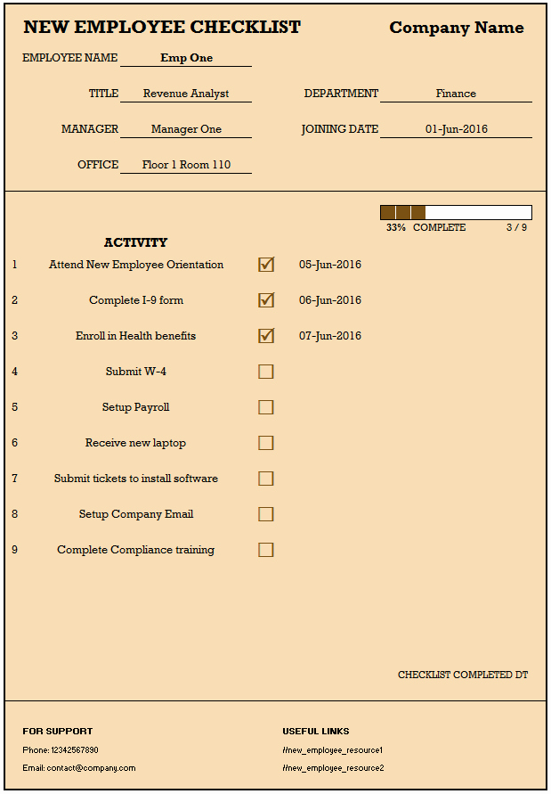 New Employee Checklist Template Excel Awesome Checklist for New Hire New Employee Checklist Excel