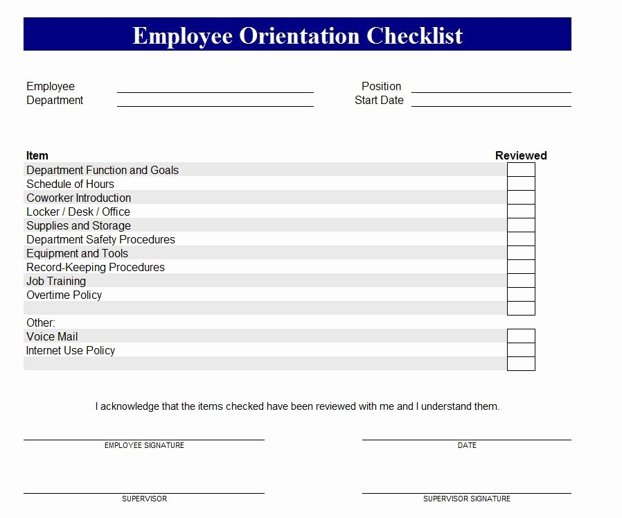 New Employee Checklist Template Excel Awesome New Employee orientation Checklist Excel