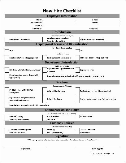 New Employee Checklist Template Excel Fresh Free Basic New Hire Checklist Work Planner