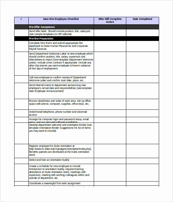 New Employee Checklist Template Excel Lovely New Employee orientation Checklist Excel