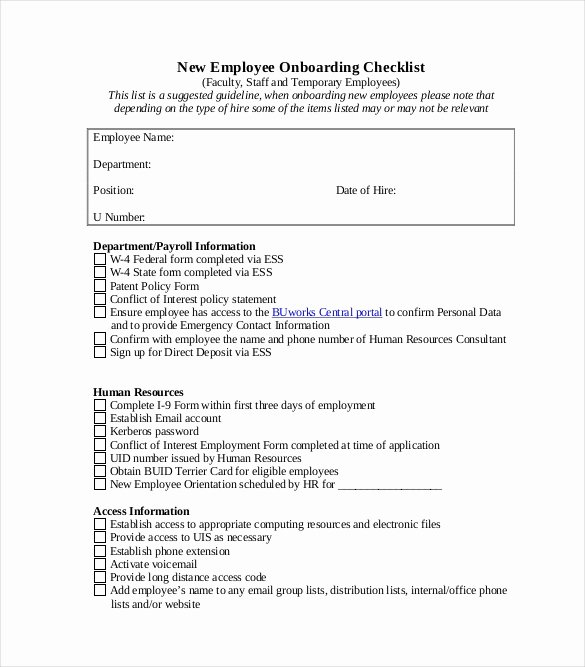New Employee Checklist Template Excel New Boarding Checklist Template 17 Free Word Excel Pdf