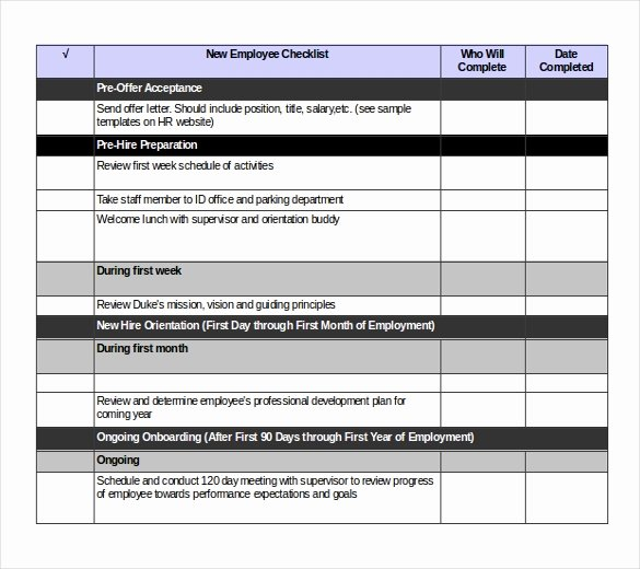 New Employee Checklist Template Excel New Checklist Templates – 36 Free Word Excel Pdf Documents