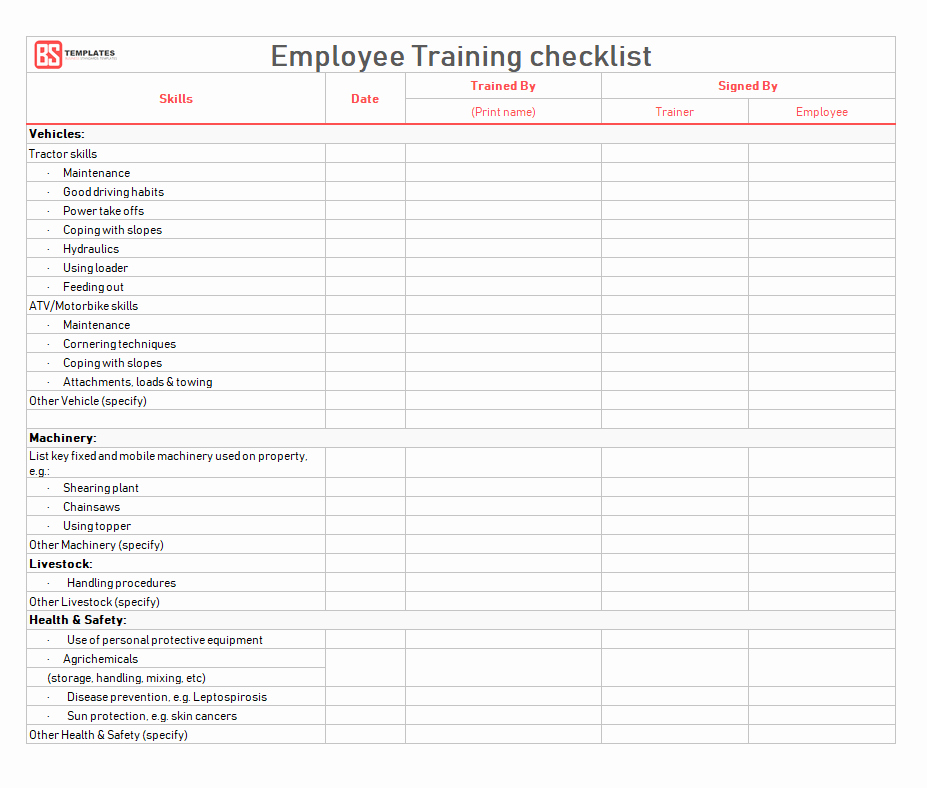 New Employee Checklist Template Excel Unique Employee Training Checklist Template for Excel & Word