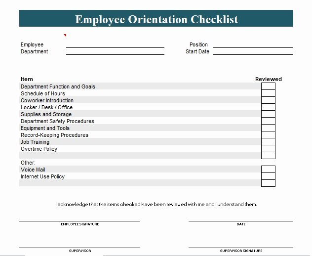 New Employee Checklist Template Excel Unique New Employee orientation Checklist Template Excel and Word