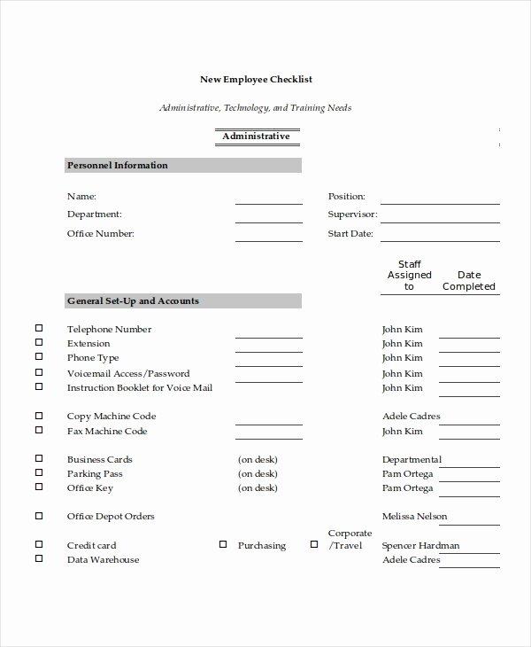 New Employee Checklist Templates Best Of 17 Checklist Templates
