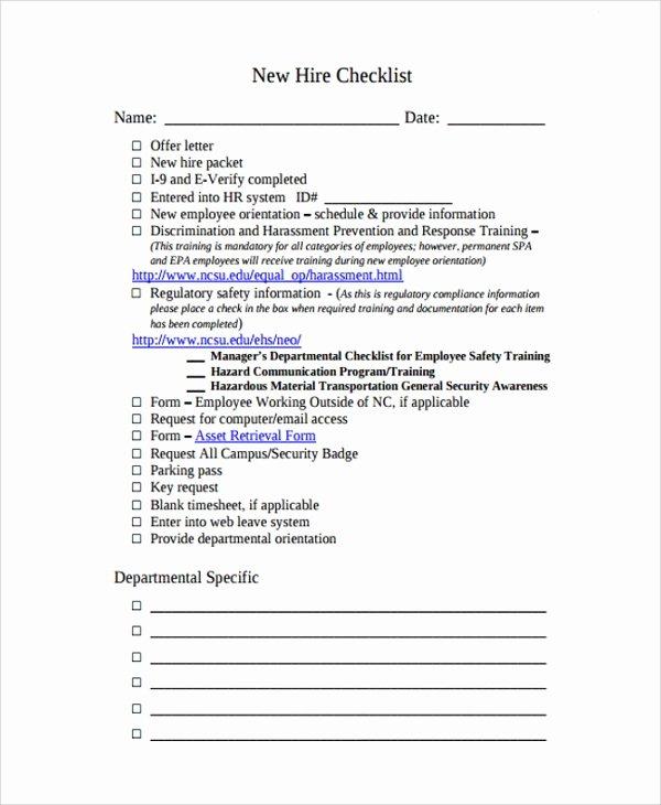 New Employee Checklist Templates Unique Sample New Employee Checklist 20 Free Documents