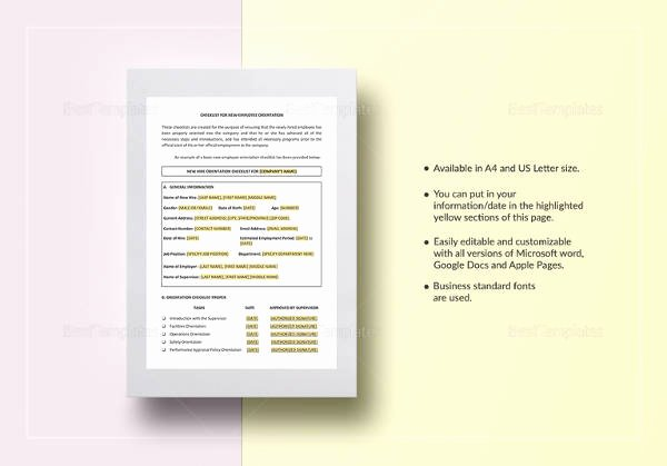 New Hire Checklist Template Word Awesome Sample New Employee Checklist 20 Free Documents