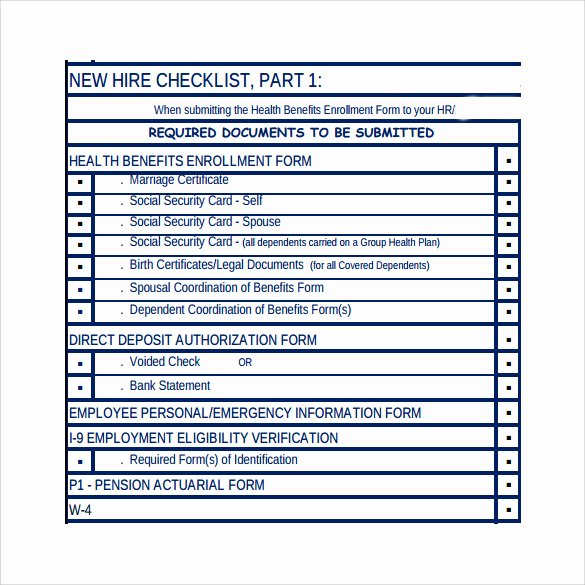 New Hire Checklist Template Word Awesome Sample New Hire Checklist 10 Documents In Pdf Word