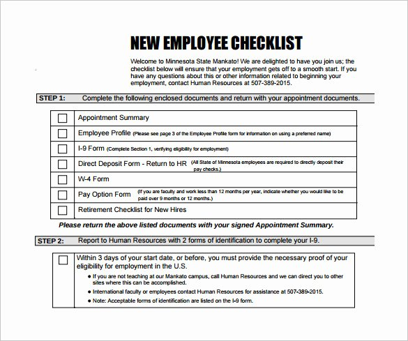 New Hire Checklist Template Word Beautiful New Hire Checklist Sample 16 Documents In Pdf
