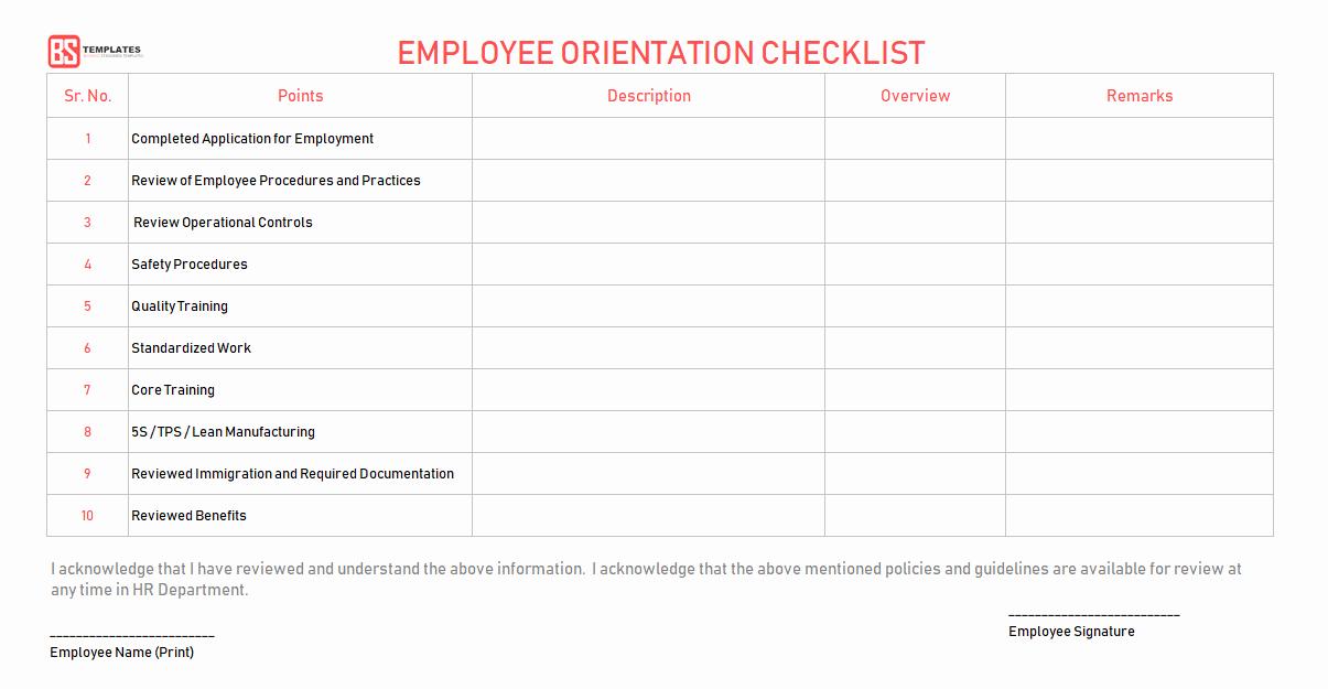 New Hire Checklist Template Word Elegant New Employee orientation Checklist – Word Excel