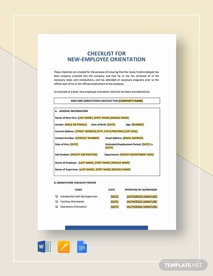 New Hire Checklist Template Word Elegant Sample New Employee Checklist 20 Free Documents