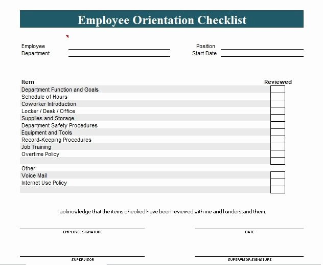 New Hire Checklist Template Word Fresh New Employee orientation Checklist Template Word and Excel
